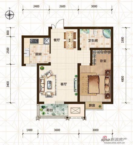 天津旷世新城100平米简约风格户型图