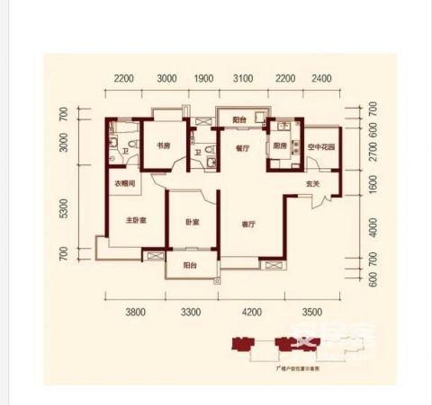 西安紫薇曲江意境100平米新中式风格户型图