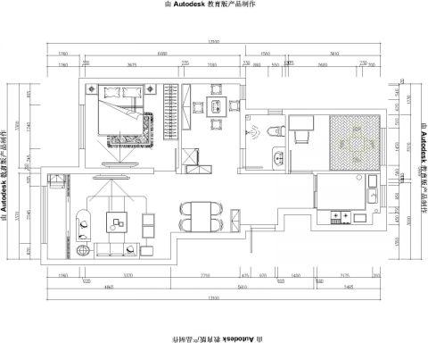青岛卓越蔚蓝群岛93平米现代简约风格户型图