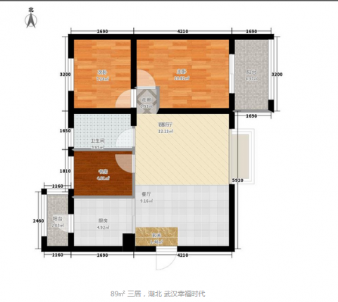 武汉幸福时代137平米简约风格户型图