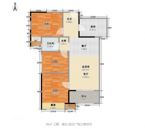 武汉广电兰亭时代120平米东南亚风格户型图
