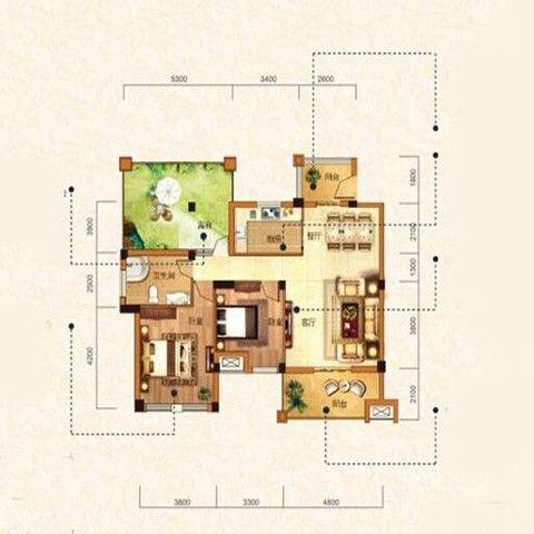 武汉保利心语100平米现代简约风格户型图