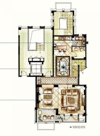 南京金地自在城120平米简约风格户型图
