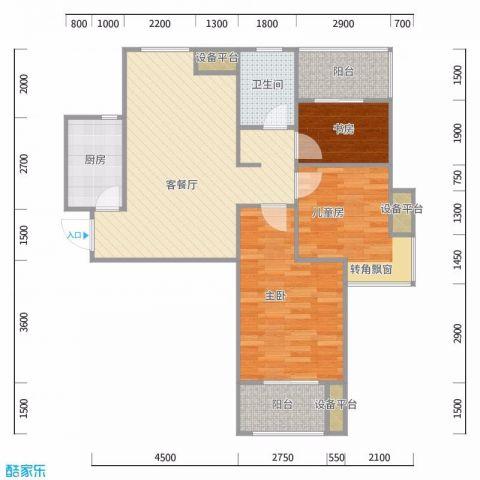 武汉纽宾凯国际社区汉city63平米北欧风格户型图