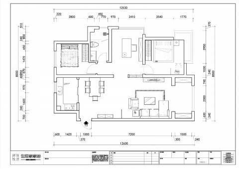 青岛青特花溪地131平米美式风格户型图