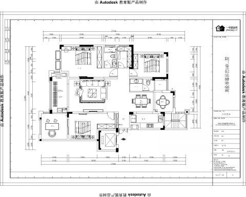 宜兴英伦尊邸140平米美式风格户型图