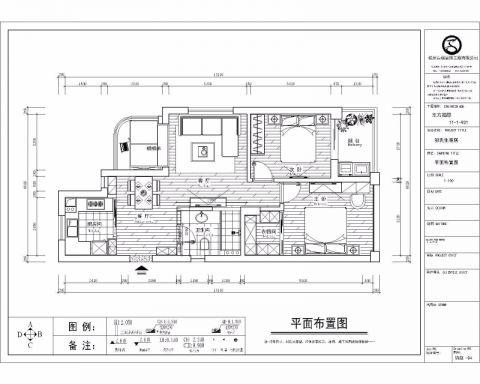 杭州东方福邸120平米新中式风格户型图