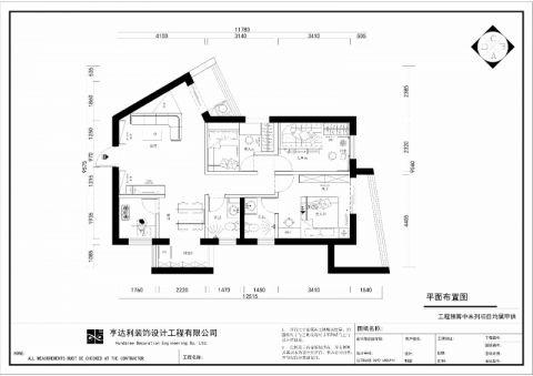 深圳湖景花园91平米新中式风格户型图