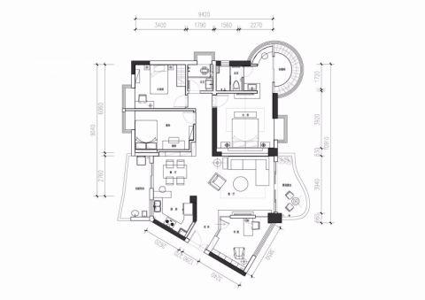 成都龙城一号78平米现代简约风格户型图