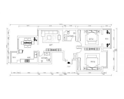 石家庄中山西路54所宿舍130平米中式风格户型图