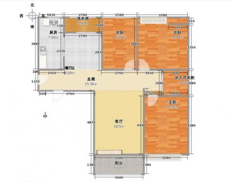 北京华业东方玫瑰123平米现代风格户型图
