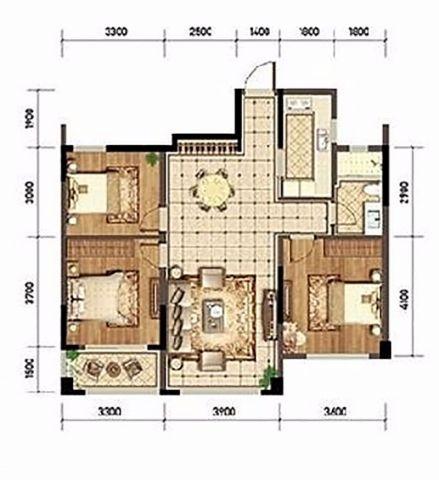 杭州郡望府96平米现代简约风格户型图