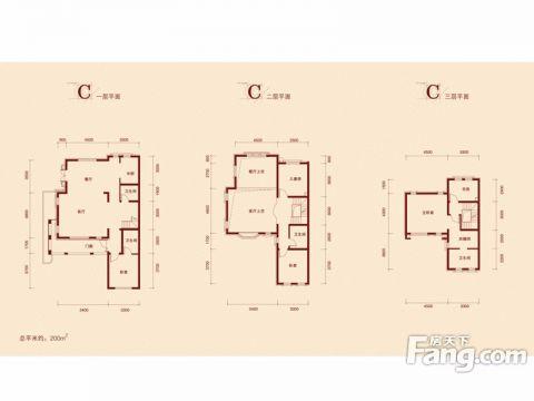 天津中信公园城120平米中式风格户型图