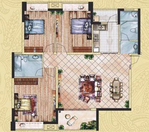 唐山尚诚国际120平米现代风格户型图