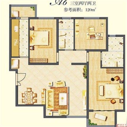 西安建邦华庭116平米现代中式风格户型图