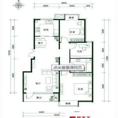 北京首开·常青藤96平米简欧风格户型图