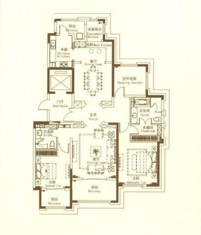 常州紫禁城165平米美式风格户型图