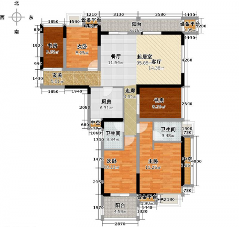 苏州云山诗意130平米现代风格户型图