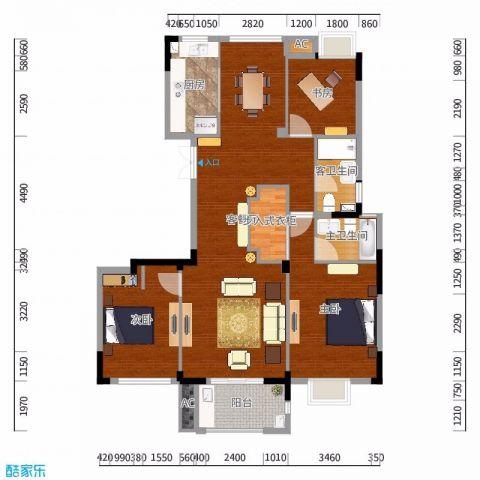 金华奥克斯中央御府143平米新中式风格户型图