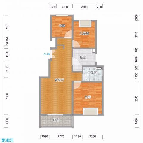 上海中海悦府(公寓)85平米现代简约风格户型图