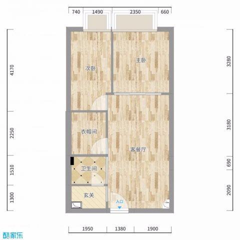 上海三迪曼哈顿46平米日式风格户型图