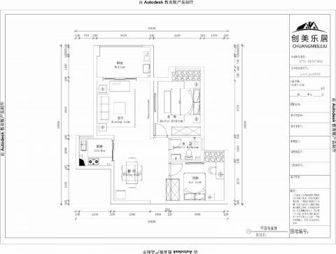 南昌赣电开元国际85平米简欧风格户型图