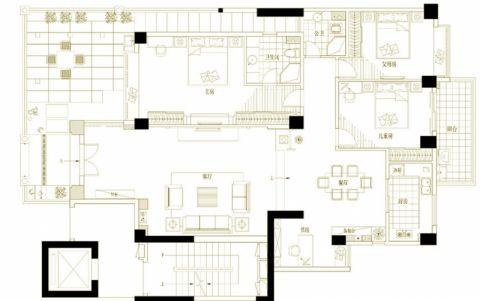 重庆融侨城花样派123平米混搭风格户型图