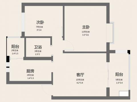 北京朗琴园100平米简约风格户型图