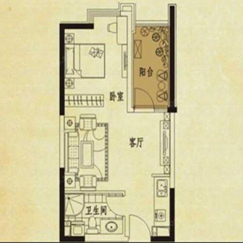 西安中海华庭50平米现代中式风格户型图