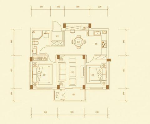 长沙盛世耀凯110平米混搭风格户型图