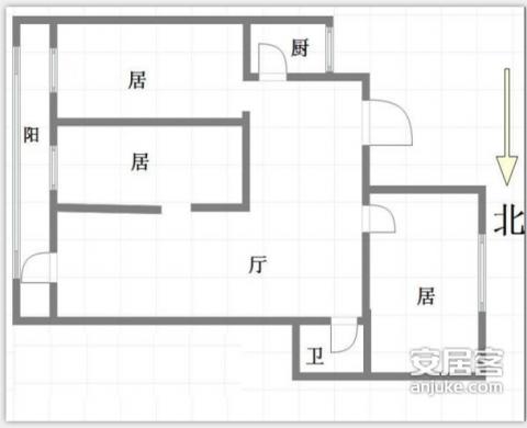 天津怀远里80平米简约风格户型图