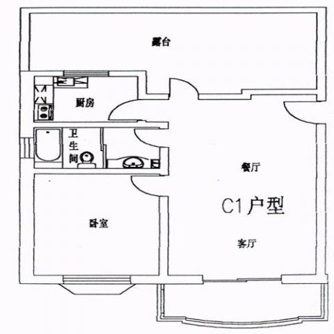 北京京南嘉园89平米简约风格户型图