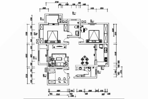 徐州风华园128平米美式风格户型图