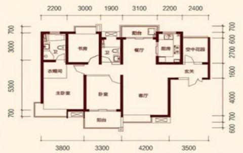 西安紫薇曲江意境128平米新中式风格户型图