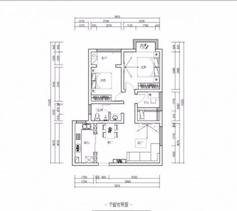 郑州南熙府邸120平米美式风格户型图