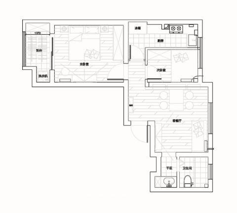 上海庐秀新苑68平米地中海风格户型图