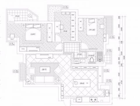 岳阳凯旋城120平米混搭风格户型图