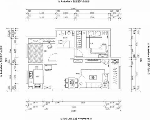 青岛嘉凯城•时代城二期东方龙域113平米简约风格户型图