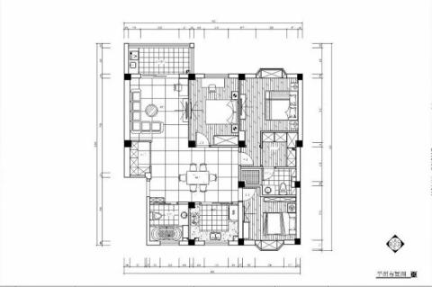 宁波兴裕新村85平米美式风格户型图