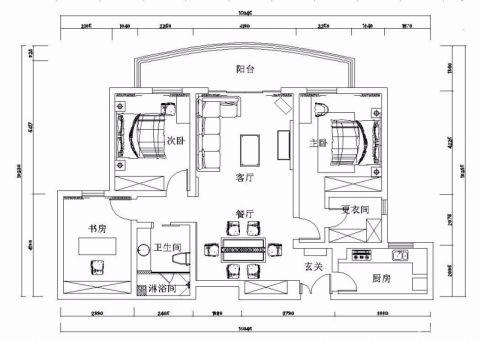 南昌澄湖嘉苑120平米现代风格户型图