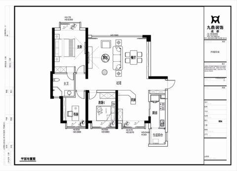 成都西城星座98平米现代简约风格户型图