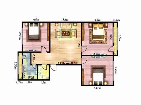 岳阳山水豪庭96平米现代简约风格户型图