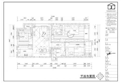 宁波荣安月园110平米欧式风格户型图