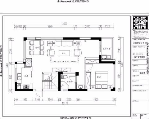 杭州东方府邸150平米美式风格户型图