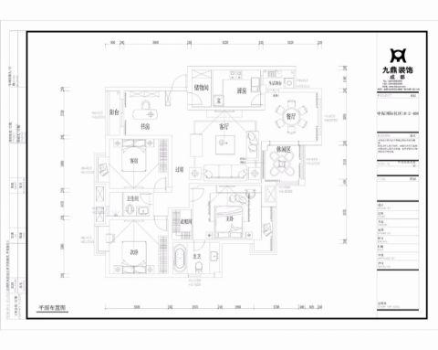 成都中海国际社区145平米欧式风格户型图