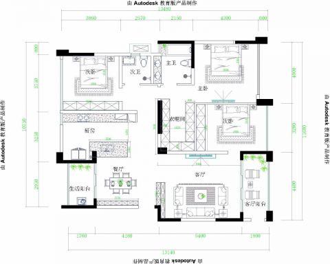 成都九龙仓御园166平米现代简约风格户型图