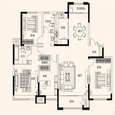济南鲁能领秀城180平米现代简约风格户型图