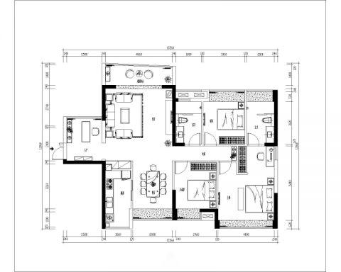 长沙梅溪鑫苑名家105平米中式风格户型图