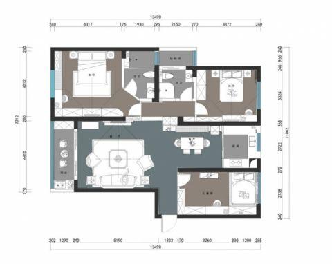 长沙长房时代城110平米北欧风格户型图