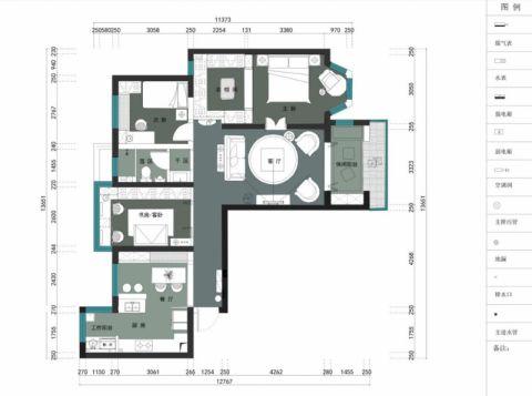 长沙恒大雅苑90平米美式风格户型图